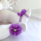 Mauve Flower Barefoot Sandals with Diamontes - Size 12 months (B9)