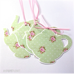 Teapot gift tags in floral pink roses and green. Mothers day, gifts, baby shower
