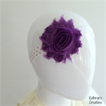 Purple Flower Headband on Gold Spotty Elastic - to fit from approx 12 months