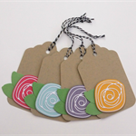 Scribble Rose Gift Tag - Set of 4