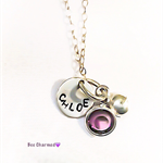 Personalised necklace, birthstone necklace, sterling silver