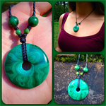 Malachite doughnut pendant necklace, Australian handmade stone necklace