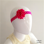 Pink Flower Headband on Pink Spotty Elastic - to fit from approx newborn