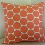 Cushion -  big coral pink spots on a white background