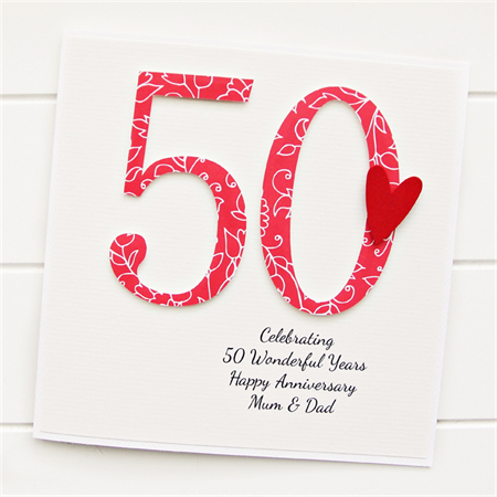 50th Wedding Anniversary Gift Ideas For Wife : 50th Anniversary Custom card personalised wedding husband wife golden ...