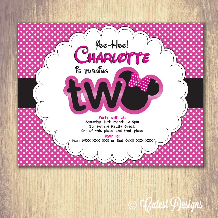 Minnie Mouse Birthday Invitations Customised Printable Download