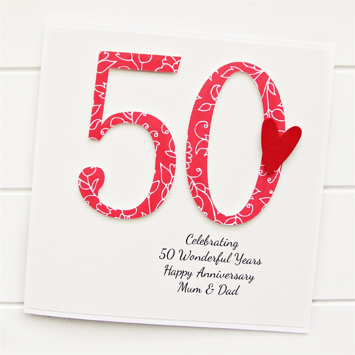50th anniversary custom card personalised wedding husband wife
