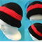 Crocheted Black and Red Beanie