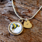 Bee cabochon and hand stamped initial heart charm pendant necklace