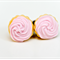 Pink iced cupcakes on top stud earrings