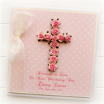 Cross Personalised card custom baby girl pink Christening Baptism Communion