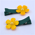 School Hair Clips - Green & Yellow Gold Flowers