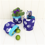 COSY POT : Screen Printed Lined Hessian Storage Pot - Mini Royal Blue