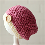 crochet beanie | chunky  slouchy or beret | girls 1-3 | pink cream