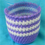 Bottle Cosy - Purple and White