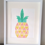 Big Pineapple (Watercolour collage, unframed)