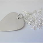 Sterling silver guitar pick plectrum necklace