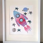 Rocket (Watercolour collage, unframed)