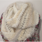 Multi-textured Infinity Scarf in shades of Cream. Fits adult.