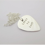 Sterling silver guitar pick pendant - personalised - stamped