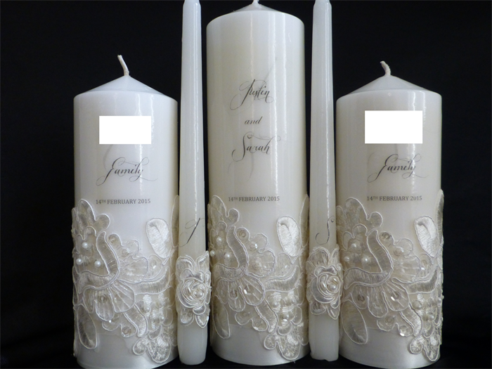 Personalised Wedding Candle With Bridal Lace 5 Piece Set