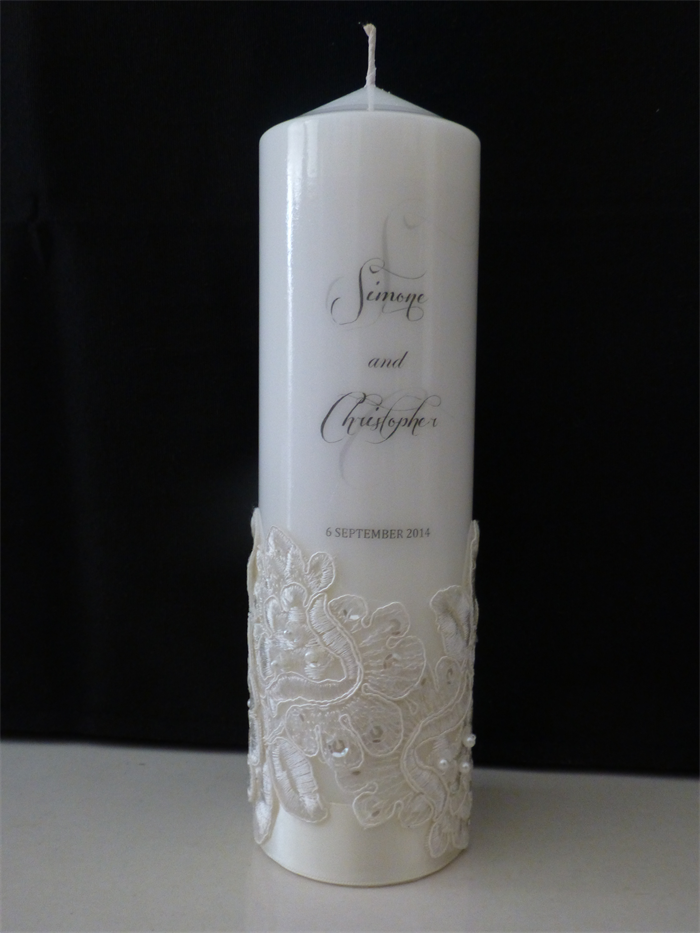 wedding ideas candles personalised wedding candle with bridal lace 5 set 28080