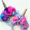 Unicorn magical flower crown headband - gold horn.