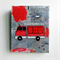 Fire truck motif mixed media canvas in grey and red