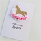Gold glitter rocking horse & pink paper roses hello sweet baby newborn girl card