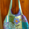 BRIGHT PATCHWORK & APPLIQUED FLOWER  MED SIZED TOTE