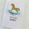 Gold glitter rocking horse & blue paper roses hello sweet baby newborn boy card