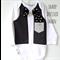 Baby Tuxedo Bodysuit Black Formal Wedding Fabric Bow Tie and Hankie All sizes