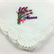 Embroidered Handkerchief Gift for Nanna, with Crocheted Lace Edge.