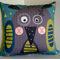 Cushion -  Crazy Owl print in grey, green and mustard yellow