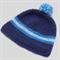 baby boy crochet beanie | blue stripes, pom pom | toddler | gift | 9 – 18 months