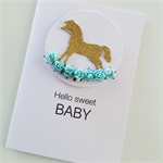 Gold glitter rocking horse & blue paper roses hello sweet baby newborn boy card