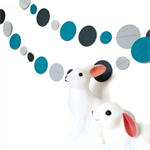 Paper Dot Confetti Circle Garland Greys & Aqua 3 Metres for Parties, Decoration