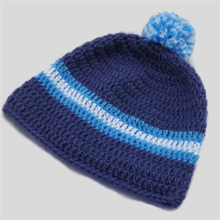 baby boy crochet beanie | blue stripes, pom pom | toddler | gift | 9 – 18 months
