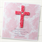 Custom cross card red Christening Baptism Holy Communion Confirmation