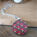 Laser Cut Wooden Disc Pendant Necklace, Hand Painted Oriental Scallop Design