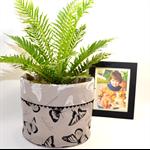 REVERSIBLE FABRIC BASKET 'Butterflies on Grey' - Big Bucket Size