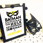 superhero superman hulk spiderman ironman batman Personalised Wallart Print