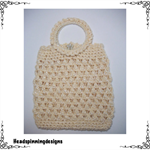 Crocheted Handbag with Covered Metal Handle & Faux Pearl Button