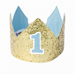 Birthday Crown - Gold Glitter and Blue - First Second Third - Personalised