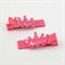 Princess Crown Hair Clips - dark pink