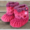 Crocodile Stitch Baby Booties in red velvet colors Size 0-6 months