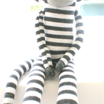 Sock monkey soft toy stripes