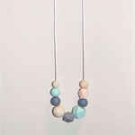 DribbleGems Pastel Mint Silicone & Natural Unfinished Wood Teething Necklace
