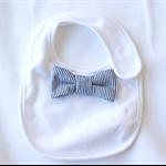 Bow Tie Bib blue and white stripes