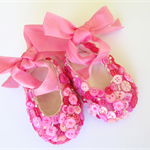 Baby Girl Pink Ballet Slippers  0-6mths. Christening, Naming. Highly Decorated.